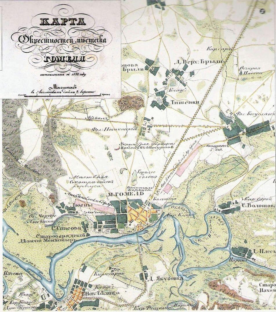 Карта окрестностей местечка Гомеля составленная в 1838 год.