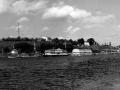 Сож в 60-е 1961–1966, Сож в Гомеле, первая половина 60-х. Телевизионная вышка уже есть, а пешеходного моста через реку нет. Он построен в 1969 году, но даже строительства не видно.