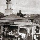 Торговые ряды на Базарной площади. На заднем плане каланча пожарного депо. Фото начала XX века
