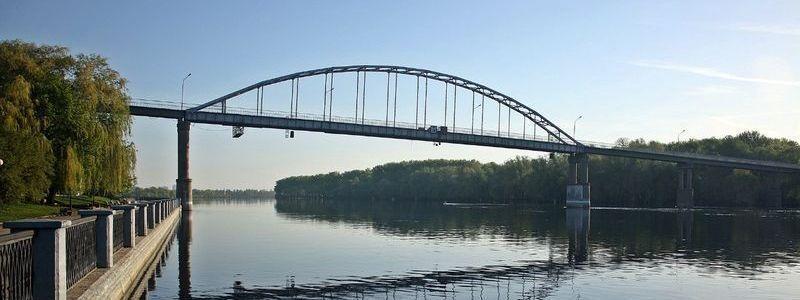 Пешеходный мост через Сож в парке