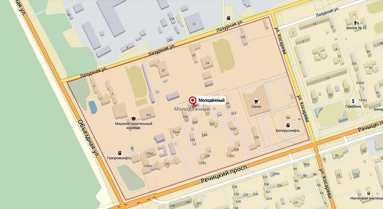 Микрорайон Молодёжный на карте города
