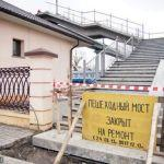 На гомельском железнодорожном вокзале ремонтируют пешеходный мост