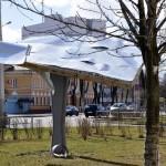 Циклон Ев в Гомеле: на улице Ефремова ветром согнуло билборд