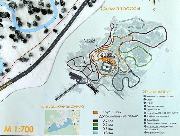 Схема лыжероллерной трассы в лесном массиве за Медгородком