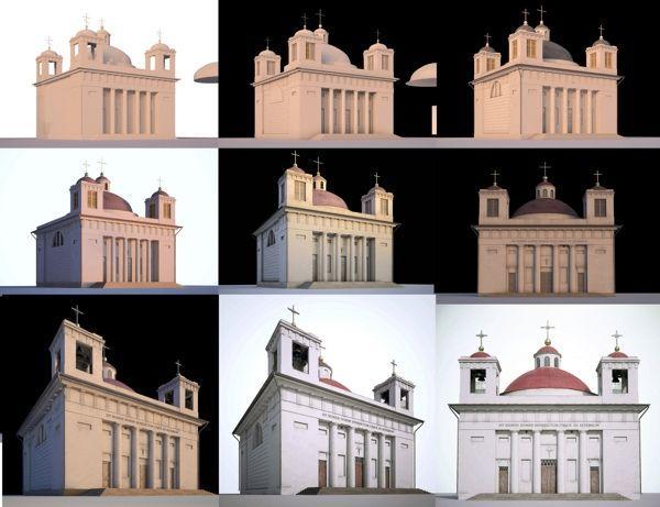 Процесс создания трехмерной модели разрушенного гомельского костела.