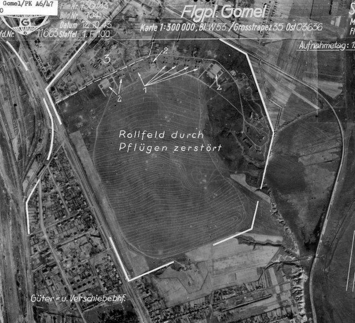 Гомельскі аэрадром паводле нямецкіх аэрафотаздымкаў кастрычніка 1943 г.