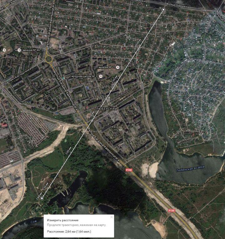 Расстояние между ул. Куйбашева (бывшей Немецкой) и шведской горкой по Google Maps.