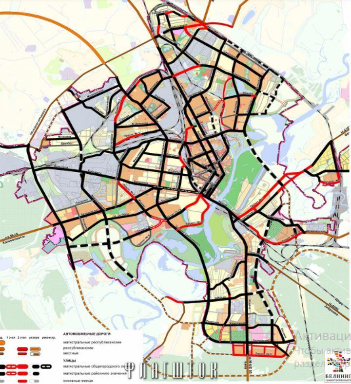 """Пунктиром обозначены перспективные """"резервные"""" улицы."""