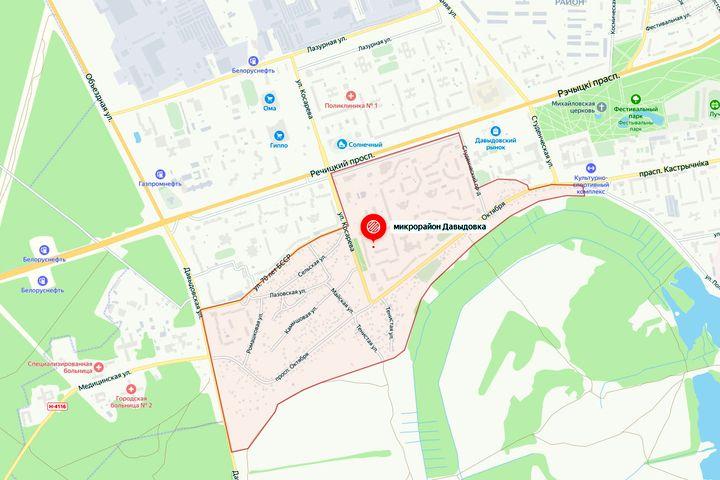 Микрорайон «Давыдовка» на карте Гомеля