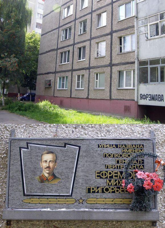 Мемориальная доска Ефремову Михаилу Григорьевичу
