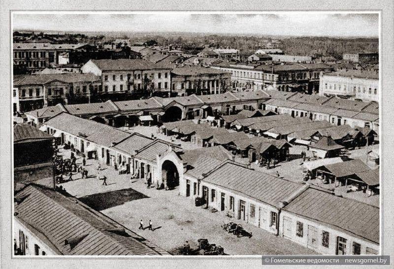 Рынок. Начало 1900-х. Угол улиц Румянцевской и Базарной (нынешние Советская и Трудовая).