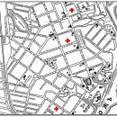 На исторической карте Гомеля условными обозначениями указаны места размещения детской больницы с 1920 по 2015 год