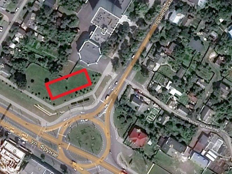 Предполагаемое размещение дома в квадрате улиц Пролетарская и Фрунзе