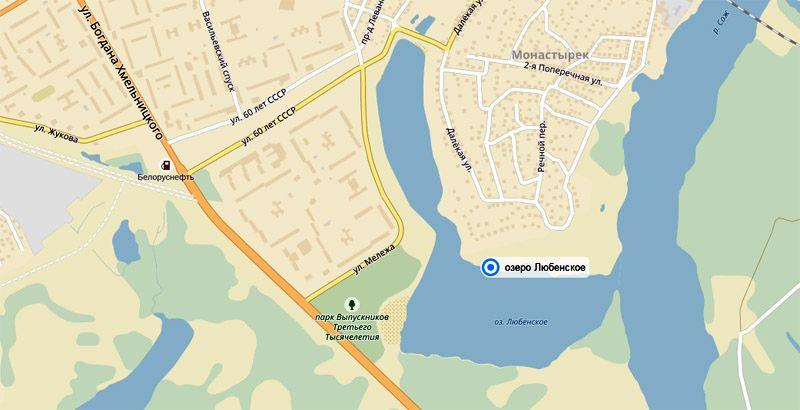 Любенское озеро на карте города