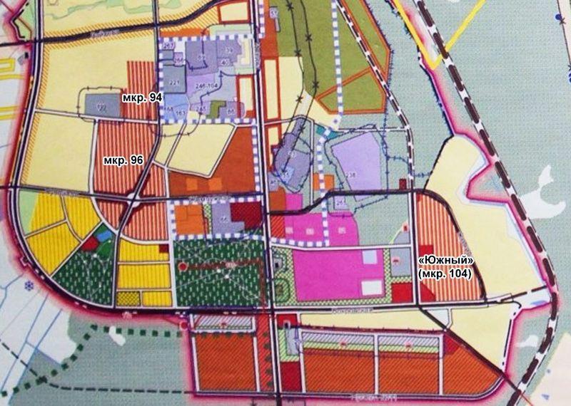 Новые микрорайоны будут запланированы на выезде из Новобелицы (обозначены оранжевым внизу).