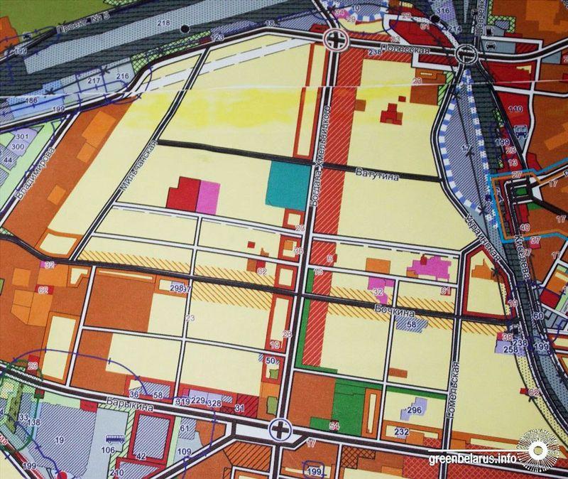 Залинейный район (оранжевой штриховкой обозначены «коридоры» из многоэтажной застройки).